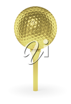 Golf sport competition winning and golf trophy concept: golden yellow shiny golf ball on tee with shadow, isolated on white background 3d illustration
