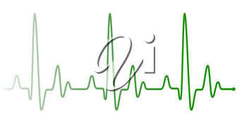 Green heart beat pulse graphic line on white. Healthcare medical sign with heart cardiogram. Cardiology concept pulse rate diagram illustration.