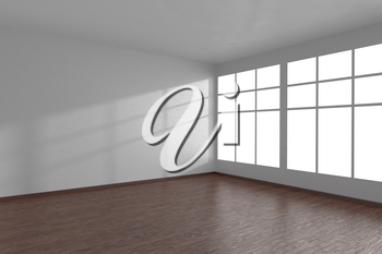 Corner of white empty room with large windows and dark wooden parquet floor, 3D illustration