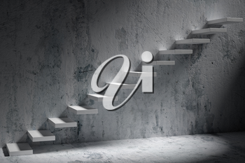 Business rise, forward achievement, progress way, success and hope creative concept: Ascending stairs of rising staircase in dark rough empty room with light 3d illustration