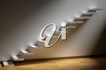 Business rise, forward achievement, progress way, success and hope creative concept: Ascending stairs of rising staircase in dark empty room with light with parquet floor and plinth 3d illustration