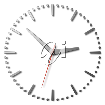 Simple clock face with metal hour hand, metal minute hand and red second hand with shadows on white clock face with metal hours and minutes markers, 3d illustration