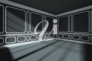 Empty black room interior with sunlight from window, with white decorative classic style molding frames on walls, with flat ceiling, floor and baseboard, 3d illustration, wide angle