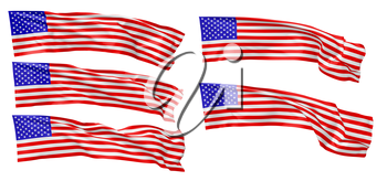 National flag of United States of America with stars and stripes flying and waving in wind isolated on white collsection, long flag, 3d illustration set