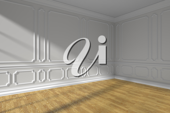 White empty room corner interior with sunlight from window, white decorative classic style molding frames on walls, wooden parquet floor and white baseboard, 3d illustration
