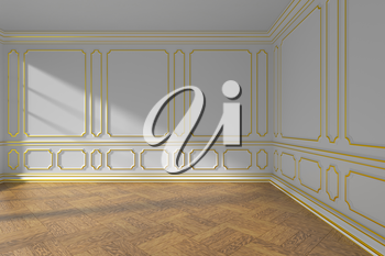 White empty room interior with sunlight from window, decorative classic style golden molding on walls, wooden parquet floor and white baseboard, 3d illustration