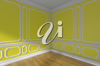 Yellow empty room corner interior with sunlight from window, decorative classic style molding on walls, wooden parquet floor and white baseboard, 3d illustration