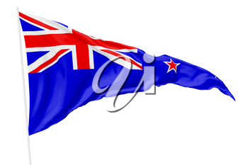 Triangular national flag New Zealand on flagpole flying in the wind isolated on white, 3d illustration