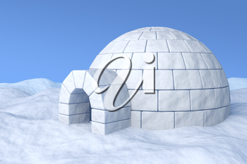 Igloo icehouse on the white snow under blue sky three-dimensional illustration