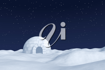 Winter north polar natural night snowy landscape: eskimo house igloo icehouse made with white snow at night on the surface of white polar snow field under cold night north sky with bright stars