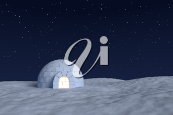 Winter north polar snowy landscape: eskimo house igloo icehouse with warm light inside made with snow at night on the surface of snow field under cold night north sky with bright stars front view