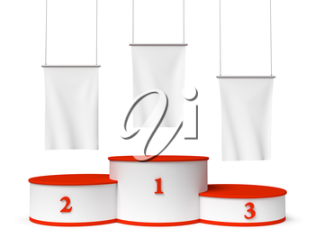 Sports winning and championship and competition success symbol - round sports pedestal, winners podium with empty red first, second and third places and blank white flags, 3d illustration, closeup, isolated