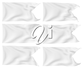 White flag with angle flying and waving in the wind isolated on white, white flag set, 3D illustration