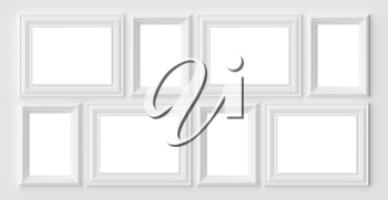 White blank photo or picture frames on the white wall with shadows with copy-space, white colorless picture frames template set, art frame mock-up 3D illustration
