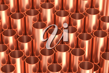 Heavy metallurgical industry production and non-ferrous industrial products creative abstract illustration: many stainless metal shiny copper pipes lying industrial background, creative 3D illustration