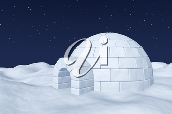 Winter north polar natural night snowy landscape: eskimo house igloo icehouse made with white snow at night on the surface of polar white snow field under cold night north sky with bright stars