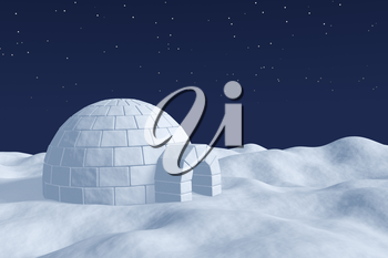 Winter north polar natural night snowy landscape: eskimo house igloo icehouse made with white snow at night on surface of polar white snow field under the cold night north sky with bright stars