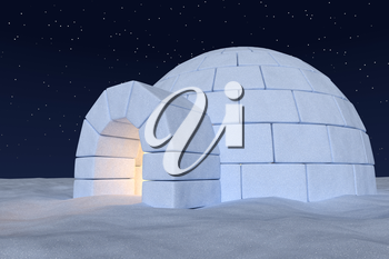 Winter north polar snowy landscape: close-up view of eskimo house igloo icehouse with warm light inside made with snow at night on surface of snow field under cold night north sky with bright stars