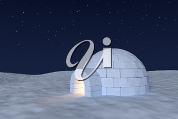 Winter north polar snowy landscape: eskimo house igloo icehouse with warm light inside made with snow at night on the surface of snow field under cold night north sky with bright stars