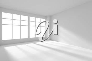 Abstract architecture white room interior - empty white room corner with white walls, white floor, white ceiling and window with sunlight from window, without any textures, 3d illustration