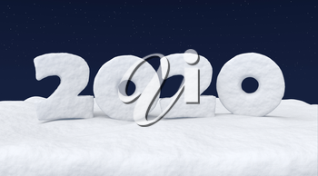 Happy New Year 2020 sign text written with numbers made of snow on snowy field at night under cold north clear night sky with bright stars, winter snow 3d illustration landscape
