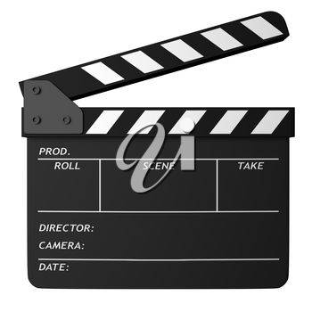Open movie black clapper board isolated on white background. Movie, cinema, film making industry equipment. 3D Illustration.