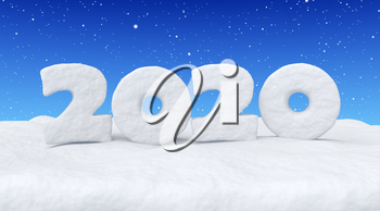 2020 Happy New Year sign text written with numbers made of snow on snowy field under blue sky and snowfall, snowy winter 3d illustration landscape