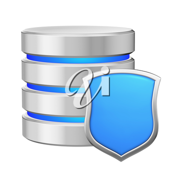 Database with metal blue shield protected from unauthorized access, data protection concept, 3d illustration icon isolated on white background for Data Protection Day.