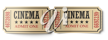 Two retro vintage cinema tickets made of yellow textured paper isolated on white background, closeup view, 3d illustration. Vintage retro cinema creative concept.