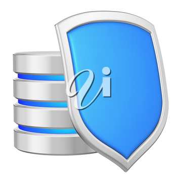 Database behind metal blue shield on right protected from unauthorized access, data privacy concept, 3d illustration icon isolated on white background for Data Protection Day