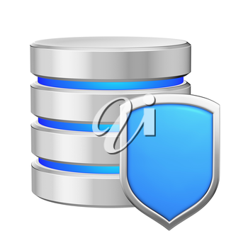Database with metal blue shield protected from unauthorized access, data privacy concept, 3d illustration icon isolated on white background for Data Protection Day