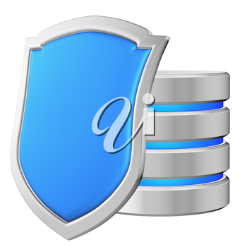 Database behind blue metal shield on left protected from unauthorized access, data privacy concept, 3d illustration icon isolated on white background for Data Protection Day