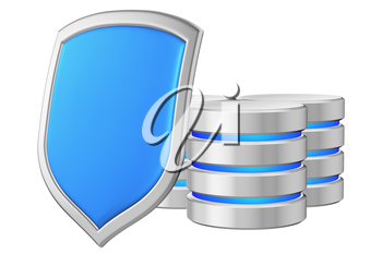 Databases group behind metal blue shield on left protected from unauthorized access, data privacy concept, 3d illustration icon isolated on white background for Data Protection Day