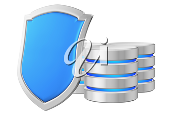 Databases group behind blue metal shield on left protected from unauthorized access, data privacy concept, 3d illustration icon isolated on white background for Data Protection Day