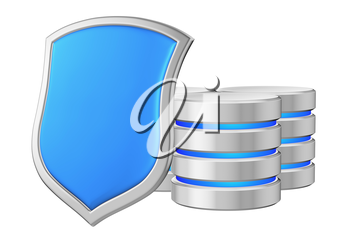 Databases group behind metal blue shield on left protected from unauthorized access, data protection concept, 3d illustration icon isolated on white background for Data Protection Day.