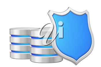 Data bases group behind metal blue shield on right protected from unauthorized access, data privacy concept, 3d illustration icon isolated on white background for Data Protection Day