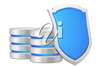Databases group behind blue metal shield on right protected from unauthorized access, data privacy concept, 3d illustration icon isolated on white background for Data Protection Day