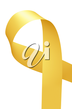 Yellow ribbon International Childhood Cancer Awareness Day sign isolated on white background awareness campaign in february month, design element 3D illustration.