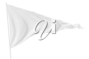 White triangular flag on flagpole flying in the wind isolated on white, 3d illustration