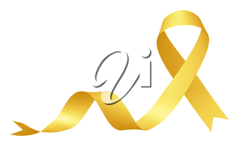 Yellow ribbon International Childhood Cancer Awareness Day symbol isolated on white background awareness campaign in february month, design element 3D illustration.