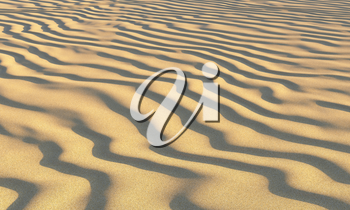 Brown wavey dry sand on the beach with waves under summer bright evening sunlight closeup perspective view nature 3D illustration
