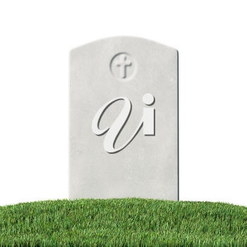 Gray blank gravestone on green grass field graveyard in memorial day under sun light isolated on white background close-up 3D illustration