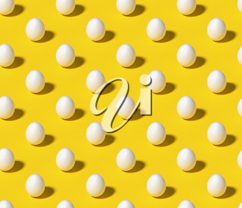 White eggs on bright yellow isometric seamless minimalistic background. Minimal food concept still life pattern. 3D illustration