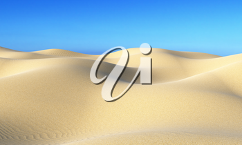 Smooth sand dunes with hills and waves under bright summer sunlight under clear blue sky, natural 3D illustration