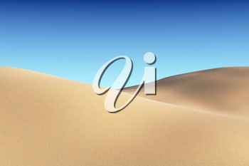 Smooth sand dunes under clear blue sky under bright summer sunlight, natural 3D illustration.