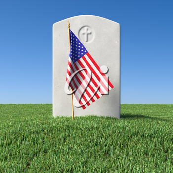 Small American flag and gray blank headstone on green grass field in memorial day under sun light under clear blue sky, Memorial Day concept 3D illustration