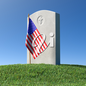 Gray blank headstone and small American flag on green grass field in memorial day under sun light under clear blue sky, Memorial Day concept 3D illustration