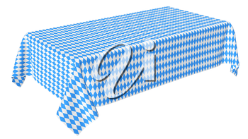 Oktoberfest rectangular tablecloth with blue-white checkered pattern isolated on white, diagonal view, traditional Oktoberfest festival decorations, 3d illustration
