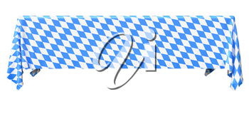 Bavaria rectangular tablecloth with blue-white checkered pattern isolated on white, front view, traditional Oktoberfest festival decorations, 3d illustration