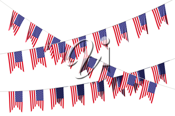 American flags decorative hanging bunting, bright USA patriotic flags garlands isolated on white. 4th of July, Independence day holidays decoration 3D illustration